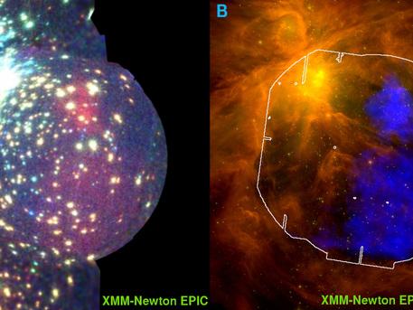 El panel izquierdo muestra la imagen obtenida con datos de XMM-Newton de sus Europea Photon Imaging Camera (EPIC) en rayos-X. El panel derecho muestra los datos del XMM-Newton, frente a las observaciones de Spitzer de la misma región. La imagen de Spitzer es una imagen compuesta de los datos obtenidos en el infrarrojo. La nebulosa de Orión es la estrella más densa región de formación de la Tierra que contiene estrellas mucho más masivas que el sol.