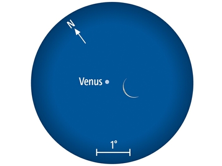 Der Mond begegnet der Venus (Anblick im Fernglas).
