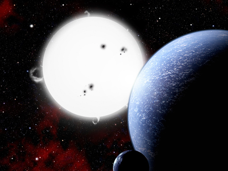 In this artist's conception, a hypothetical alien world and its moon orbit a hot, massive, type B star. Due to the short lifetime of such a star, complex life is unlikely to be found there. Although not good targets in the hunt for extraterrestrials, such planetary systems help give us a better understanding of planet formation.