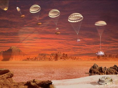Esta imagen es la impresión artistica de la secuencia de aterrizaje seguido de la sonda Huygens de la ESA, que aterrizó en Titán. El evento fue la culminación de un 22 años de proceso de planificación, organización y cooperación entre la ESA y la NASA.
