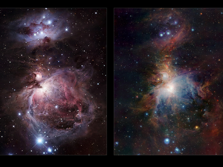 The left-hand panel shows the Orion Nebula in visible light. Most of the light from the spectacular clouds comes from hydrogen gas glowing under the fierce ultraviolet glare from the central hot young stars. The region above the center is clearly obscured by dust clouds. On the right the VISTA infrared view is shown. By observing infrared light many new features appear, including large numbers of young stars close to the center and many curious red objects, associated with young stars and their outflows, in the region above the center.