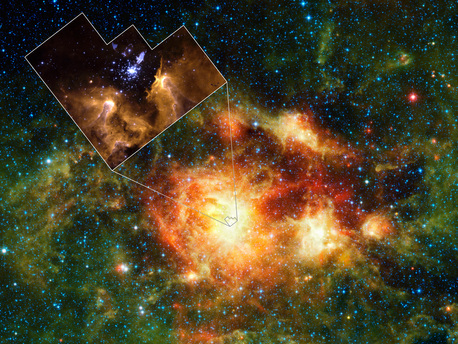 This image shows a star-forming cloud teeming with gas, dust and massive newborn stars. The inset reveals the very center of the cloud, a cluster of stars called NGC 3603. It was taken in visible light by NASA's Hubble Space Telescope.