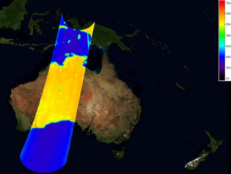 """Una imagen calibrada de la temperatura de brillo sobre Australia. En comparación con la imagen sin calibrar, el """"ruido"""" en el producto se ha reducido de modo que las líneas de costa y las características físicas del paisaje son mucho más nítida."""