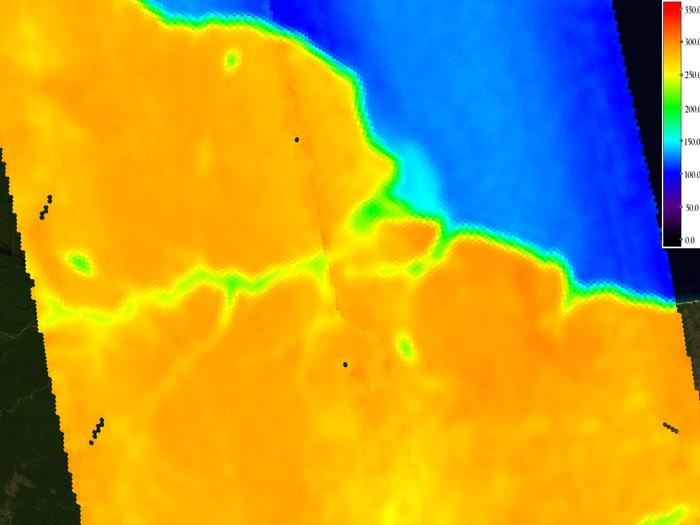Temperatura de brillo sobre el Amazonas.
