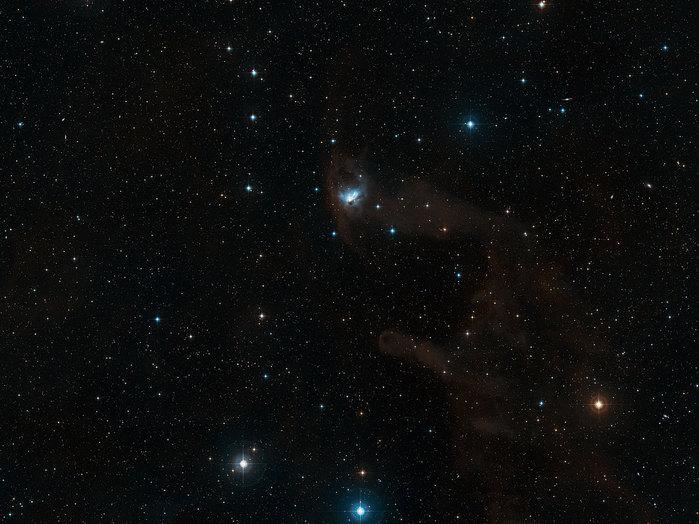 La nebulosa NGC 1788, en el rincón de la constelación de Orión. La imagen digitalizada de la Encuesta Sky 2 cubre un campo de visión de 3 x 2,9 grados, y muestra que la Nebulosa del Murciélago es parte de una nebulosidad mucho mayor.