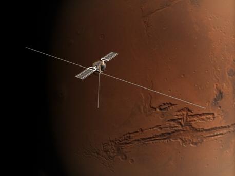 Esta es una impresión de MARSIS a bordo de la sonda Mars Express.