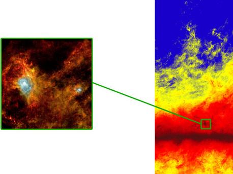 Estructuras de filamentos a gran escala se manifiestan en la Vía Láctea (como se muestra en la imagen de Planck, a la derecha) y de pequeña escala (como se ve en la imagen Herschel de una región en la constelación del Águila, a la izquierda).