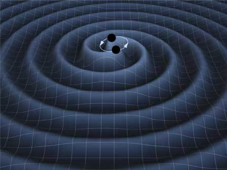 An artist's representation of the burst of gravitational waves resulting from the collision of a colliding pair of black holes.