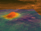 This figure shows the volcanic peak Idunn Mons (at 46°S, 214.5°E) in the Imdr Regio area of Venus. The topography derives from data obtained by NASA's Magellan spacecraft, with a vertical exageration of 30 times. The coloured overlay shows the heat patterns derived from surface brightness data collected by the visible and infrared thermal imaging spectrometer (VIRTIS) aboard ESA's Venus Express spacecraft. The brightness signals the composition of the minerals that have been changed due to lava flow. Red-orange is the warmest area and purple is the coolest. The warmest area is situated on the summit, which stands about 2.5 km above the plains, and on the bright flows that originate there. Idunn Mons has a diameter of about 200 km.
