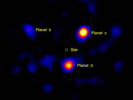 "This image shows the light from three planets orbiting a star 120 light-years away. The planets' star, called HR8799, is located at the spot marked with an ""X."" This picture was taken using a small, 1.5-meter (4.9-foot) portion of the Palomar Observatory's Hale Telescope, north of San Diego, Calif. This is the first time a picture of planets beyond our solar system has been captured using a telescope with a modest-sized mirror -- previous images were taken using larger telescopes. The three planets, called HR8799b, c and d, are thought to be gas giants like Jupiter, but more massive. They orbit their host star at roughly 24, 38 and 68 times the distance between our Earth and sun, respectively (Jupiter resides at about 5 times the Earth-sun distance)."