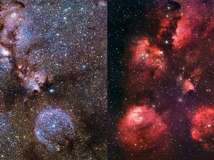 Comparación de imágenes infrarroja/visible de la Nebulosa Pata de Gato
