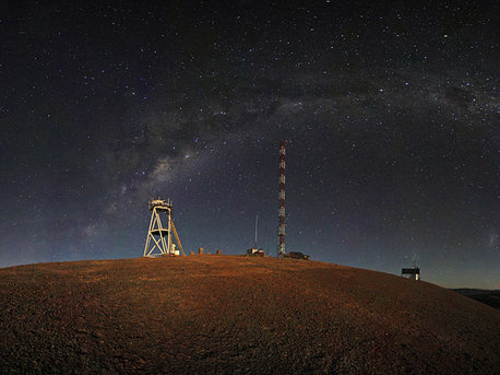 This night-time panorama shows Cerro Armazones in the Chilean desert, near ESO's Paranal Observatory, site of the Very Large Telescope (VLT). Cerro Armazones was chosen as the site for the planned European Extremely Large Telescope (E-ELT), which, with its 42-metre diameter mirror, will be the world's biggest eye on the sky.
