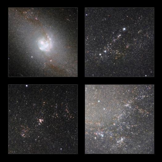 Algunos aspectos destacados de la vista infrarroja de la clásica galaxia espiral Messier 83 tomadas con el HAWK-I de la cámara en el Very Large Telescope de ESO. Además de mostrar la estructura de la galaxia sin el efecto de oscurecimiento de polvo, se revelan un gran número de estrellas en la galaxia.