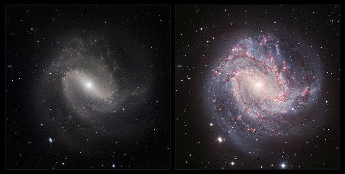 Esta imagen es una comparación de la visión de la galaxia Messier 83 en luz visible e infrarroja. La imagen en luz visible (derecha) fue tomada con la Wide Field Imager en el MPG de 2,2 metros / telescopio de ESO en La Silla en Chile. La nueva imagen infrarroja (izquierda) fue tomada con instrumento HAWK-I del VLT del Observatorio de la ESO en Paranal.