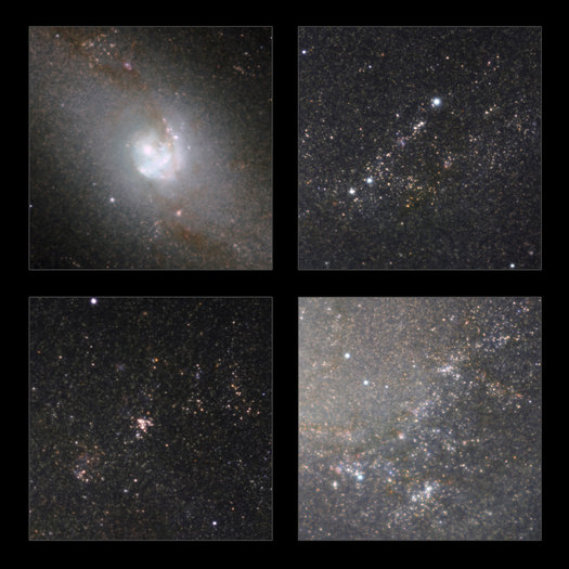Some highlights from the infrared view of the classic spiral galaxy Messier 83 taken with the HAWK-I camera on ESO's Very Large Telescope. As well as showing the structure of the galaxy without the obscuring effect of dust, huge numbers of stars within the galaxy are revealed.