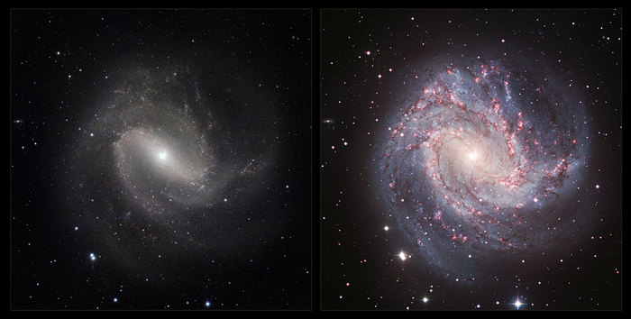 This image is a comparison of the view of the galaxy Messier 83 in visible and infrared light. The visible light image (right) was taken with the Wide Field Imager on the 2.2-metre MPG/ESO telescope at La Silla in Chile. The new infrared image (left) was taken with the HAWK-I instrument on the VLT at ESO's Paranal Observatory. In the infrared, the dust that obscures many stars becomes nearly transparent, making the spiral arms less dramatic, but revealing a whole host of new stars that are otherwise invisible.