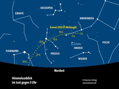 Die Bahn des Kometen C/2009 R1 McNaught im Juni 2010