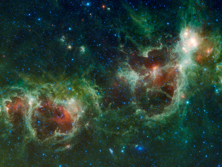 The Heart and Soul nebulae are seen in this infrared mosaic from NASA's Wide-field Infrared Survey Explorer, or WISE.