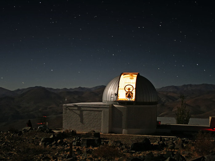 A new robotic telescope had first light at ESO's La Silla Observatory, in Chile, in June 2010. TRAPPIST (TRAnsiting Planets and PlanetesImals Small Telescope) is devoted to the study of planetary systems through two approaches: the detection and characterisation of planets located outside the Solar System (exoplanets) and the study of comets orbiting around the Sun. The 60-cm national telescope is operated from a control room in Liège, Belgium, 12 000 km away.