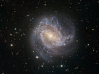One of the TRAPPIST first light images shows the spiral galaxy Messier 83. Messier 83 lies roughly 15 million light-years away in the huge southern constellation of Hydra (the Sea Serpent). It stretches across 40 000 light-years, making it roughly 2.5 times smaller than our own Milky Way. However, in some respects, Messier 83 is quite similar to our own galaxy. Both the Milky Way and Messier 83 have a bar across their galactic nucleus, the dense spherical conglomeration of stars seen at the centre of the galaxies.