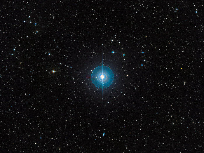 Only 12 million years old, or less than three-thousandths of the age of the Sun, Beta Pictoris is 75% more massive than our parent star. It is located about 60 light-years away towards the constellation of Pictor (the Painter) and is one of the best-known examples of a star surrounded by a dusty debris disc. Earlier observations showed a warp of the disc, a secondary inclined disc and comets falling onto the star, all indirect, but tell-tale signs that strongly suggested the presence of a massive planet. Observations done with the NACO instrument on ESO's Very Large Telescope in 2003, 2008 and 2009, have proven the presence of a planet around Beta Pictoris. It is located at a distance between 8 and 15 times the Earth-Sun separation — or Astronomical Units — which is about the distance Saturn is from the Sun. The planet has a mass of about nine Jupiter masses and the right mass and location to explain the observed warp in the inner parts of the disc.