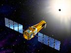 Künstlerische Darstellung des CoRoT-Satelliten auf seiner Umlaufbahn. CoRoT bewegt sich auf einer polaren Bahn in 896 Kilometern über der Erde. Dabei beobachtet er jeweils für ein halbes Jahr abwechselnd Himmelsfelder in Richtung des Zentrums der Milchstaße und in entgegengesetzter Richtung.