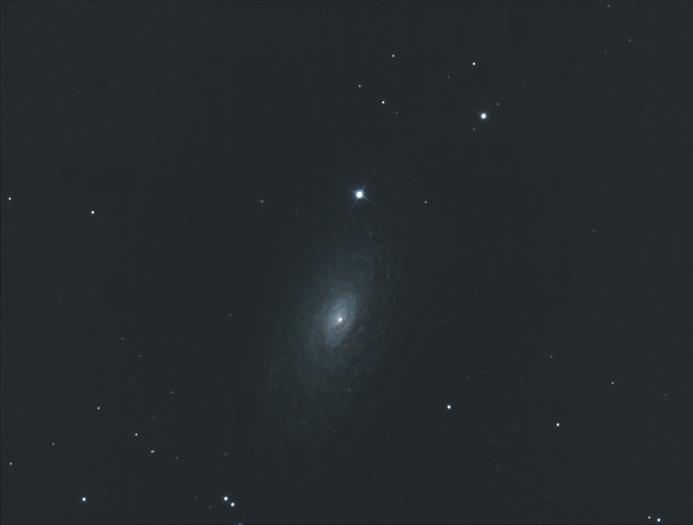 Galaxie M63, Aufnahmedaten: Canon 300 D/ 800 ASA, 15 Einzelbelichtungen a 300 sek, Hypergraph 400/3200, 16.04.2010 bei Hückeswagen. Bildautor: Bernd-Reiner Ebel