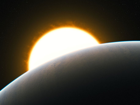 """Astronomers have measured a superstorm for the first time in the atmosphere of an exoplanet, the well-studied """"hot Jupiter"""" HD209458b. The very high-precision observations of carbon monoxide gas show that it is streaming at enormous speed from the extremely hot day side to the cooler night side of the planet.  This artist's impression shows the Jupiter-like transiting planet around its solar-like host star."""
