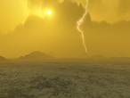 Esta concepción artística de Venus, con fecha de 2006, sugiere la presencia de relámpagos en la atmósfera.
