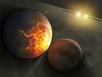 Diese künstlerische Darstellung zeigt eine Planetenkollision in einem Doppelsternsystem. Das Spitzer Weltraumteleskop der NASA hat Hinweise darauf gefunden, dass solche Kollisionen bei einem gewissen Typ naher Doppelsterne durchaus häufig vorkommen.
