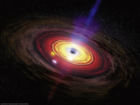 Die von der extremen Schwerkraft eines Schwarzen Lochs angezogene Materie sammelt sich in einem Ring, der Akkretionsscheibe. Zwar verschwindet ein Teil der Materie unwiderruflich im Schwarzen Loch – doch ein ebenso großer wird wieder herausgeschleudert