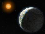 Diese künstlerische Darstellung zeigt die innersten vier Planeten des Systems Gliese 581 sowie deren Heimatstern - ein 20 Lichtjahre entfernter, roter Zwergstern. Der Planet im Vordergrund ist der neu entdeckte Gliese 581g - ein erdähnlicher Felsplanet, der Gliese 581 in einer Zone umkreist, die die Entstehung von Leben auf dem Planeten zulässt.