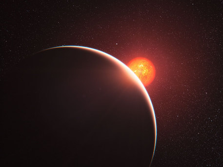 This artist's impression shows the super-Earth exoplanet orbiting the nearby star GJ 1214. It is the first super-Earth to have its atmosphere analysed. The exoplanet, orbiting a small star only 40 light-years away from us, has a mass about six times that of the Earth. The planet, GJ 1214b appears to be surrounded by an atmosphere that is either dominated by steam or blanketed by thick clouds or hazes. The planet appears as a large crescent in the foreground with its red parent star behind.