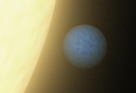 Seen here in this artist's concept, the planet is called 55 Cancri e. It's a toasty world that rushes around its star every 18 hours. Image credit: NASA/JPL-Caltech