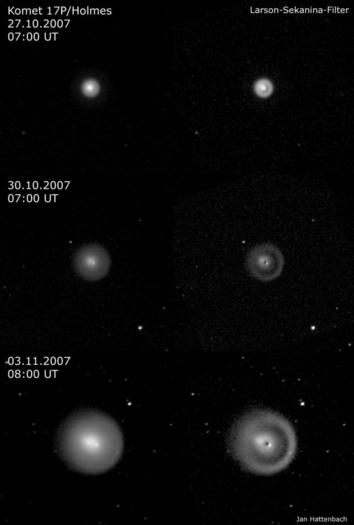 Die Entwicklung der Komagröße von Komet Holmes in den ersten 10 Tagen nach dem Ausbruch. Anfang November erreichte die Ausdehnung der Staubhülle rund 900.000 Kilometer.