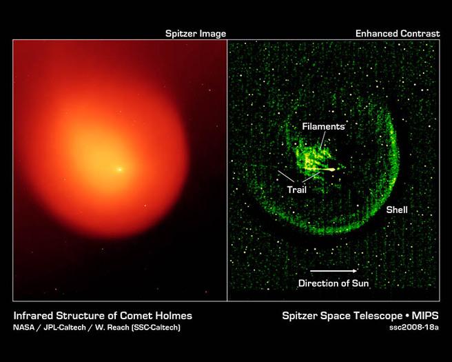 Infrarotaufnahmen des Weltraumteleskops Spitzer zeigen Strukturen in der Koma mit hoher Detailschärfe.