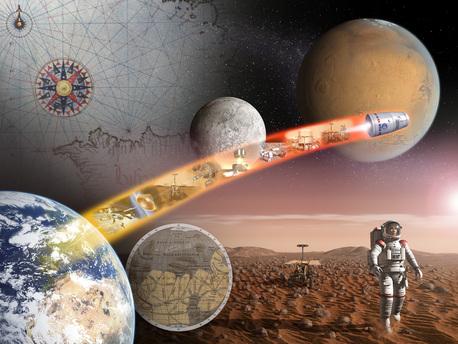Künstlerische Umsetzung des Wegs der Europäer bis hin zu einem bemannten Marsflug - das so genannte Aurora-Programm