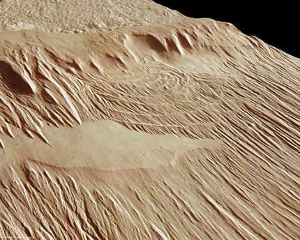 Perspektivische Ansicht eines Ausschnitts im Gebiet Eumenides Dorsum