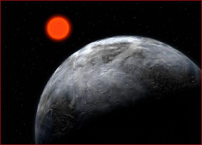 Künstlerische Darstellung des Planetensystems um den Roten Zwerg Gliese 581