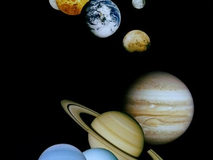 This montage of planetary images was taken by spacecraft managed by NASA's Jet Propulsion Laboratory. Included are (from top to bottom) images of Mercury, Venus, Earth (and moon), Mars, Jupiter, Saturn, Uranus and Neptune.