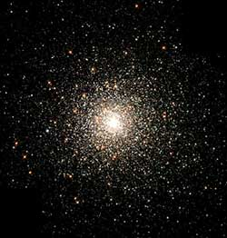 A globular cluster is a tightly grouped swarm of stars held together by gravity. This globular cluster is one of the densest of the 147 known clusters in the Milky Way galaxy.