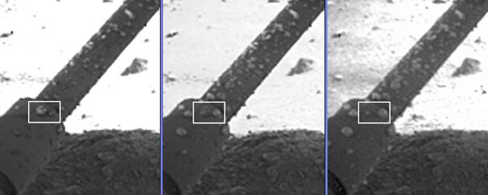 Sich vereinigende und anwachsende Wassertropfen auf einem der Phoenix-Beine. Die Bilder stammen vom 8., 31. und 44. Marstag der Phoenixmission.