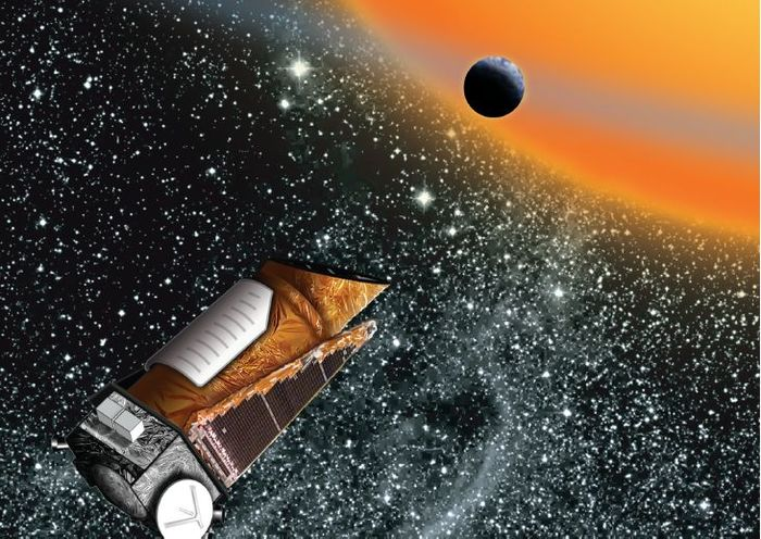 Artist's impression of Kepler in orbit. Kepler will be brought into space on March 6th.