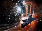Künstlerische Darstellung der letzten Service Mission des Shuttle Atlantis am Hubble Weltraumteleskop