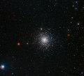 The globular cluster Messier 107, also known as NGC 6171, is located about 21 000 light-years away in the constellation of Ophiuchus. Messier 107 is about 13 arcminutes across, which corresponds to about 80 light-years at its distance. As is typical of globular clusters, a population of thousands of old stars in Messier 107 is densely concentrated into a volume that is only about twenty times the distance between our Sun and its nearest stellar neighbour, Alpha Centauri, across. This image was created from exposures taken through blue, green and near-infrared filters, using the Wide Field Imager (WFI) on the MPG/ESO 2.2-metre telescope at La Silla Observatory, Chile.