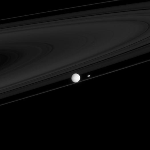 Two moons that have profound impacts on the rings, Mimas and Prometheus here with the F ring. Mimas , the larger one, creates the Cassini division between the A and B rings. Prometheus is half of a duo responsible for maintaining the narrow F ring.