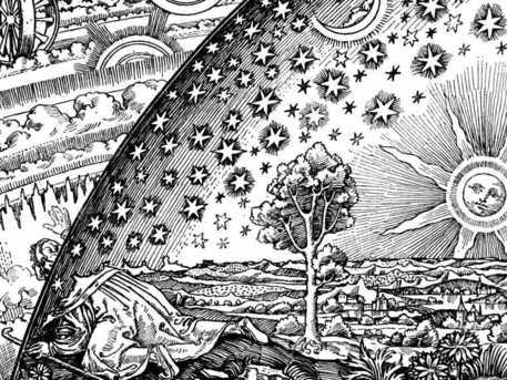 """Der oft reproduzierte Holzstich wurde erstmals 1888 im Buch von Camille Flammarion über """"die Atmosphäre"""" verwendet. Er zeigt einen Menschen, der am Rande der Welt den Kopf durch das Himmelsgewölbe steckt und die Ursachen hinter den vordergründigen Erscheinungen erblickt."""