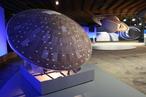 Sonden, Planetengloben und Plakate sind gekonnt in Beziehung gesetzt. Im Vordergrund Huygens' Hitzeschild, im Hintergrund der Saturn