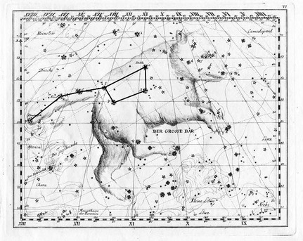 This illustration from Johann Elert Bode's 1782 star atlas shows the constellation of the Great Bear. The seven brightest stars of the Great Bear are also known as the Big Dipper or Plough in English.