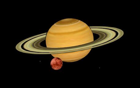 In diesem Bild können Sie die Schönheit von Saturn und Mars bewundern.